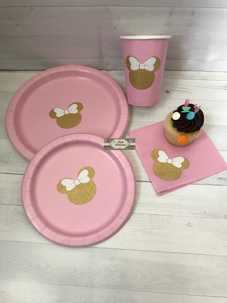 1ST Birthday Party Pack Minnie Mouse Pink Gold Glitter Plates