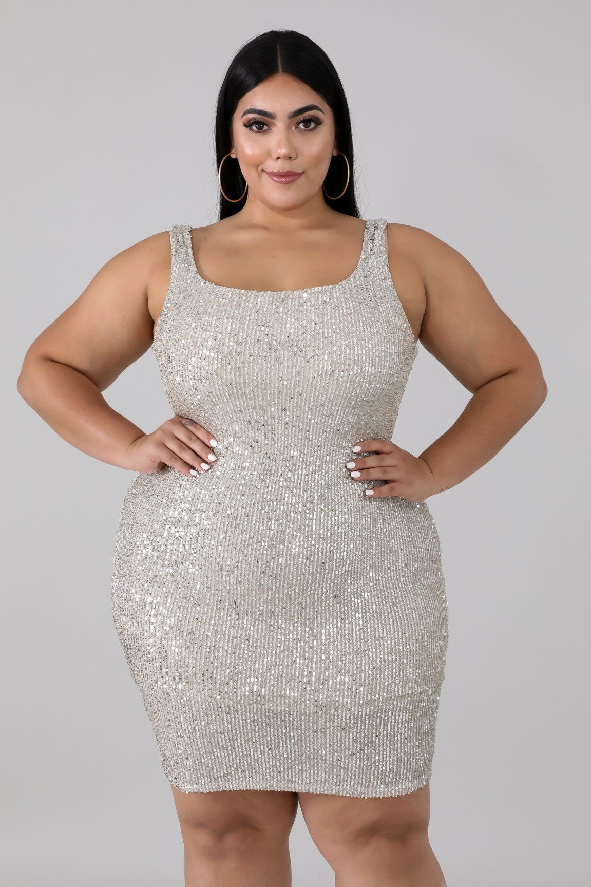 Style 3436 X Description This Sequin Prime Body Con Dress Features A Stretchy Fabric Round Neckline Underl Bodycon Dress Plus Size Going Out Outfits Dresses [ 1727 x 1151 Pixel ]