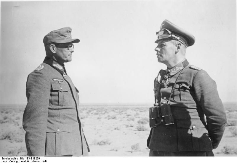 Field Marshal Rommel (right) with Major General Böttcher, North Africa, probably 1943.