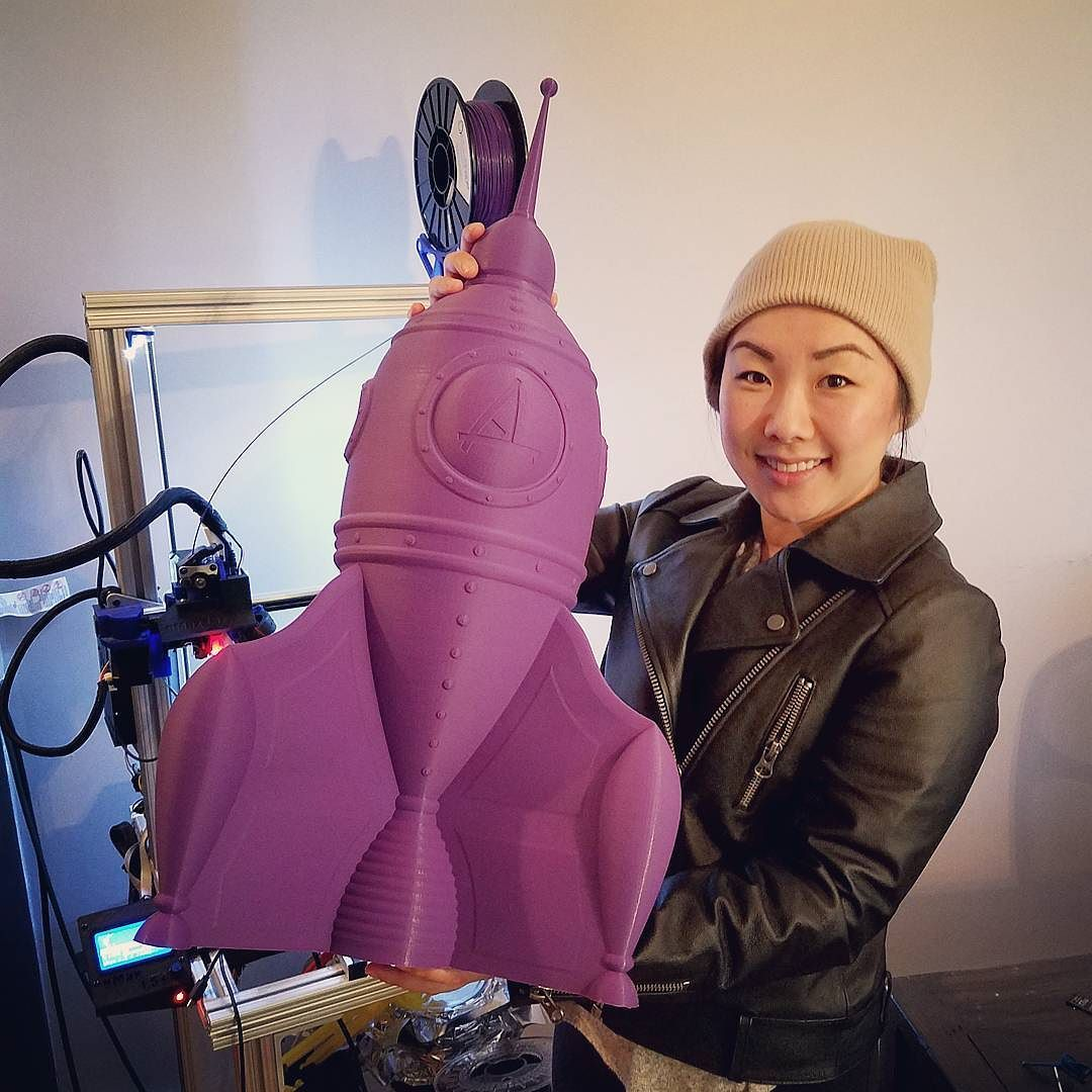"""Something we liked from Instagram! Giant gCreate Rocket complete with nose cone. This thing is SO. BIG. The body was printed as a single print 20"""" tall on the gCreate gMax 1.5 XT in Simplify3D Spiral Vase Mode. Nose cone is 9"""" tall with total height of the rocket coming out to 27 inches. We used MakeShaper PLA and it should be noted that we never used this brand of PLA before starting this print. We decided to go for it with a giant print and are glad we did. by gcreate3d check us out…"""