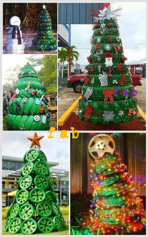 DIY Christmas Tire Decoration Ideas for Garden and Porch