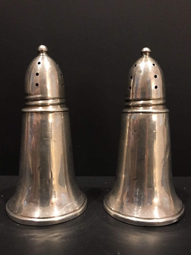 Crown Sterling Salt /& Pepper Weighted plus Glass Inserts