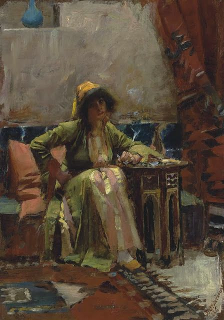 """John William Waterhouse, """"An Eastern Interior with a Seated Girl."""" 10.25"""" x 7.125"""" (!!!)"""