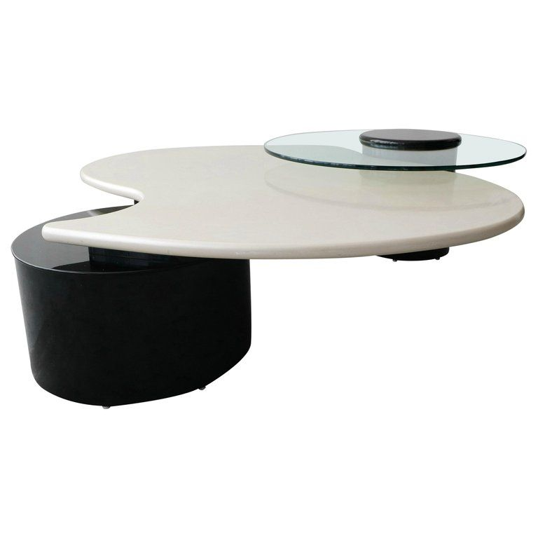 Large Postmodern Articulating 3 Tier Black And White Coffee Table By Rougier Coffee Table White Coffee Table Black And White Coffee