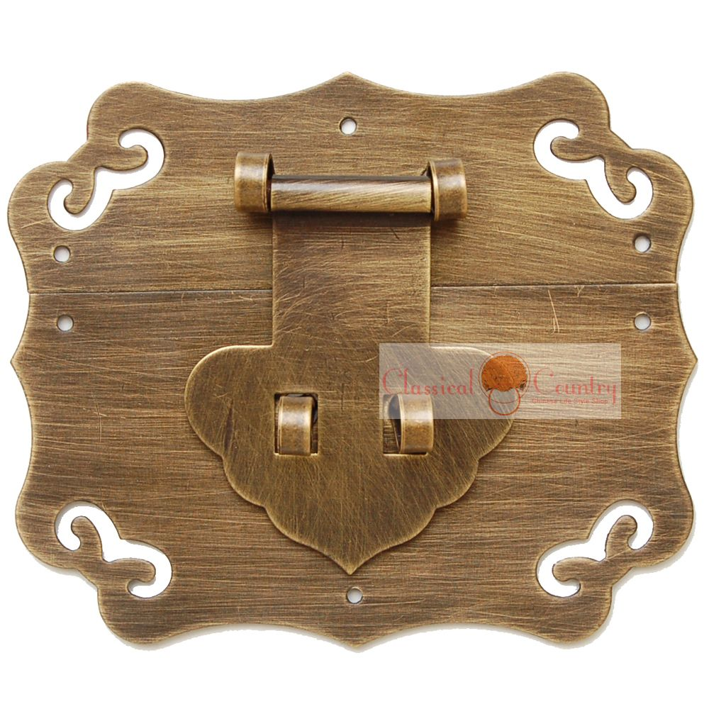 11x10cm Box Catch Brass Hasp Latch for Chinese Furniture Hardware