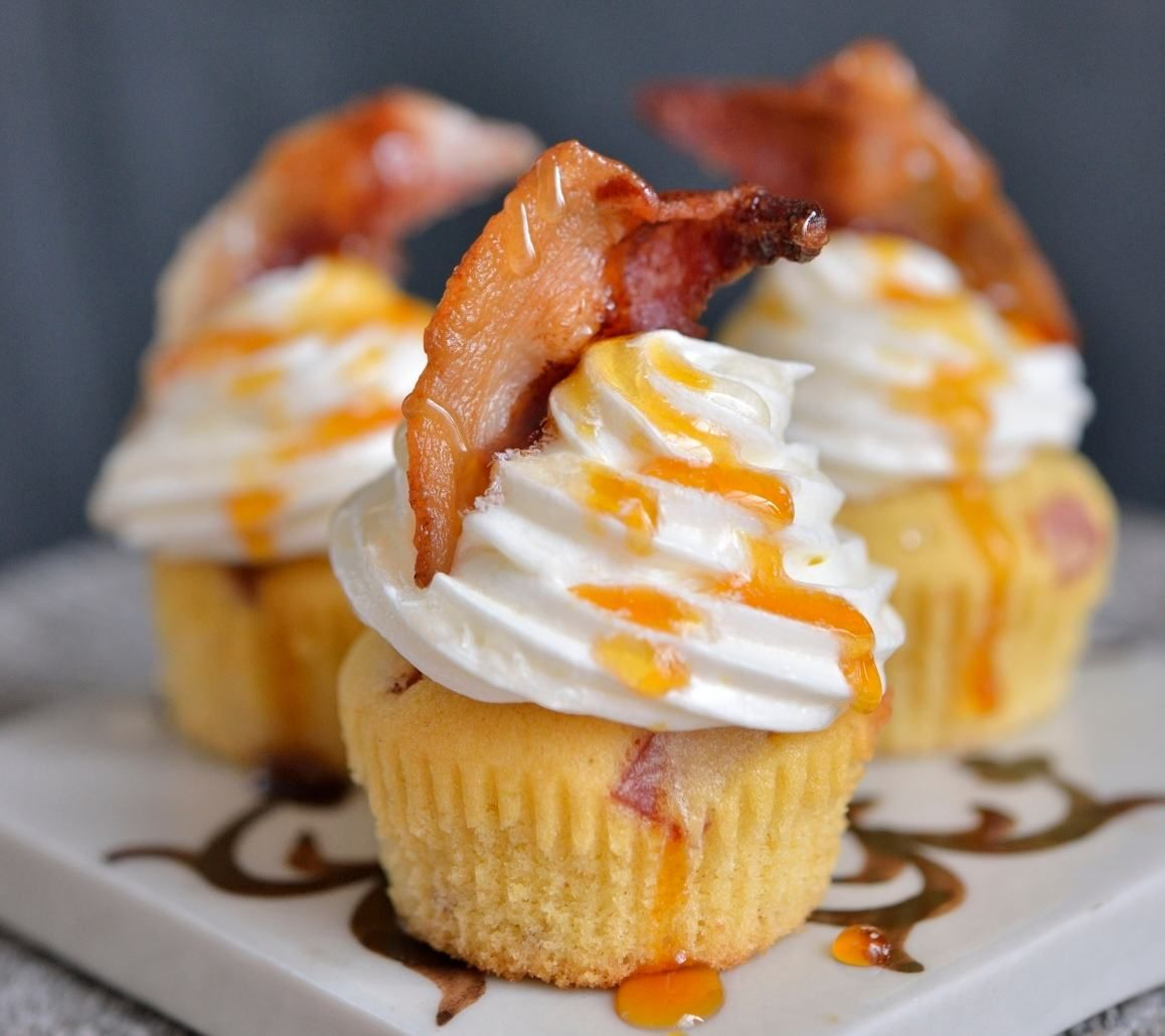 Mini cupcakes med bacon