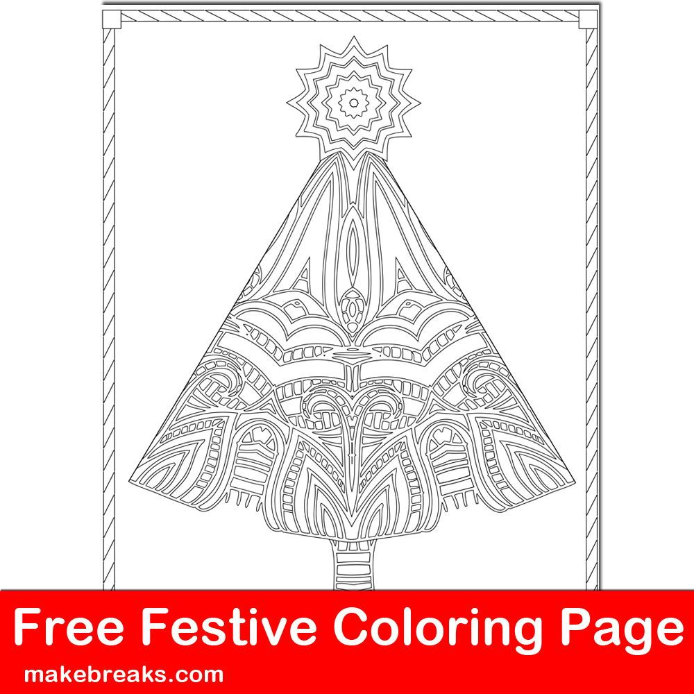 Free Christmas Tree Intricate Coloring Page Easy