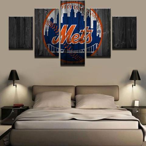 New York Mets MLB Baseball 5 Panel Canvas Wall Art Home Decor