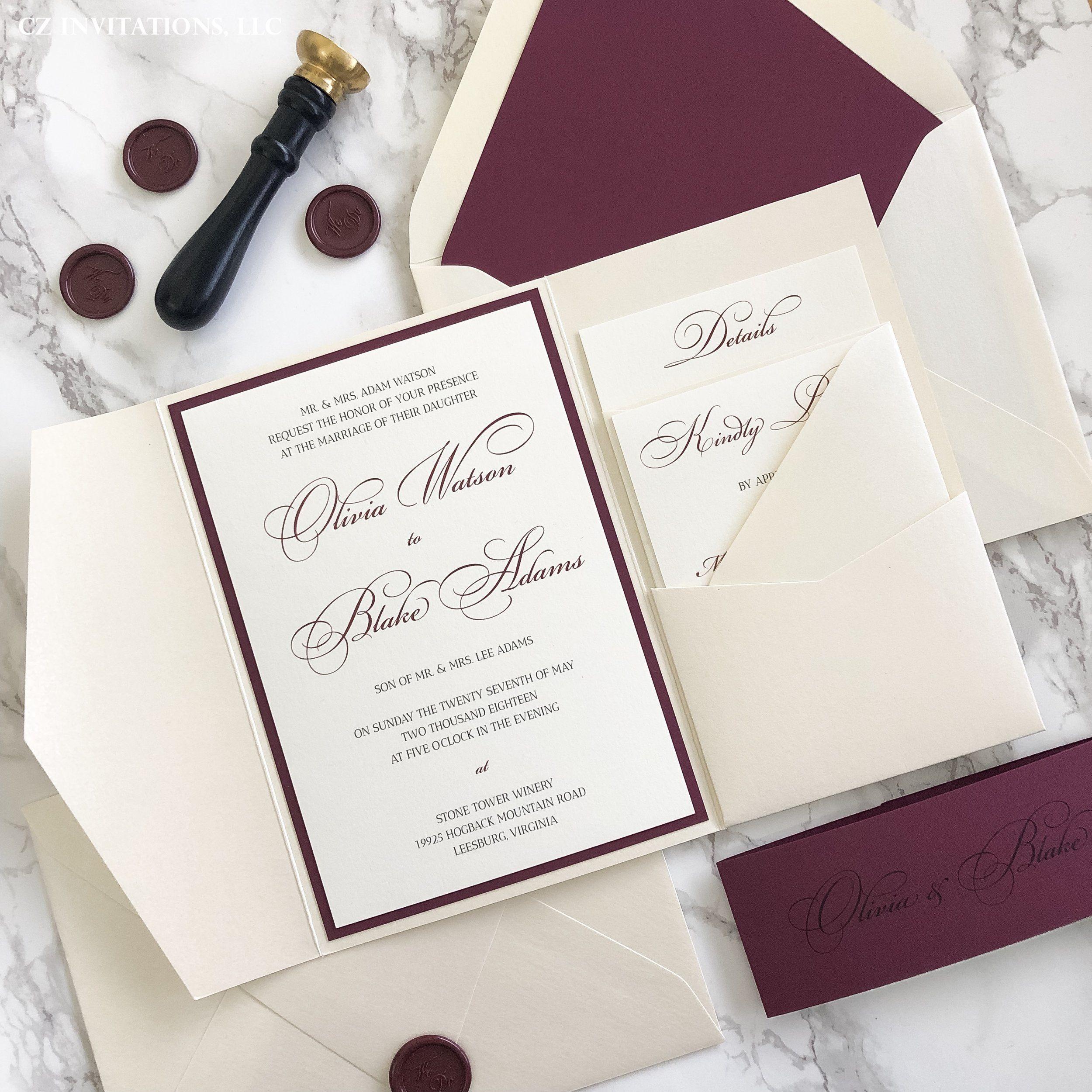 Burgundy And Opal Pocket Wedding Invitation Cz Invitations Pocket Wedding Invitations Wedding Invitations Diy Wedding Invitations