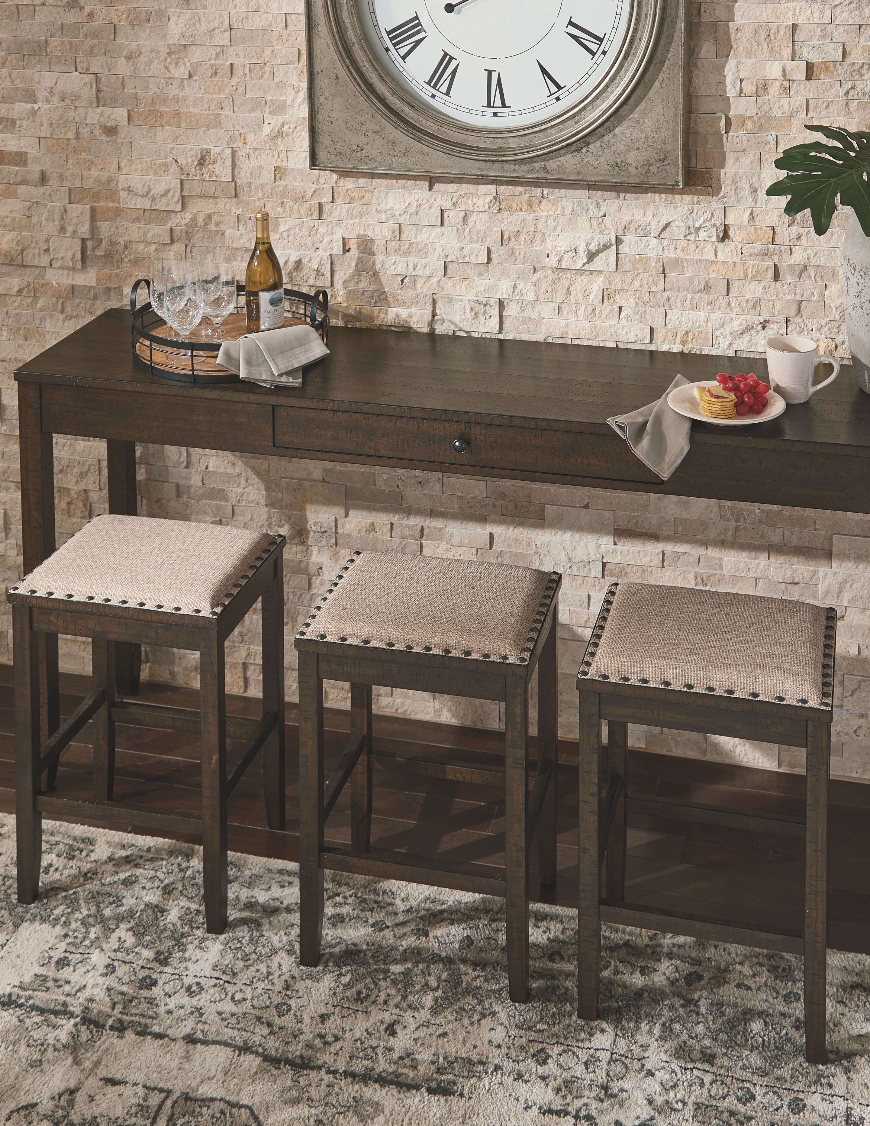 Rokane Counter Height Dining Table And Bar Stools Set Of 4 Ashley Furniture Homestore Counter Height Dining Table Counter Height Dining Room Tables Breakfast Nook Dining Set
