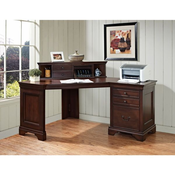 Mulberry 60 Inch Corner Computer Desk And Hutch W Charging Station 27 74 High X 28 Wide 43 35 Deep