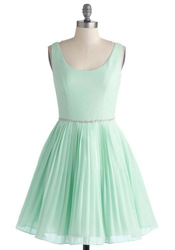 Sage a Dance Dress - Mid-length, Chiffon, Woven, Mint, Solid, Pleats, Rhinestones, Party, Luxe, Fairytale, Pastel, Fit & Flare, Tank top (2 ...