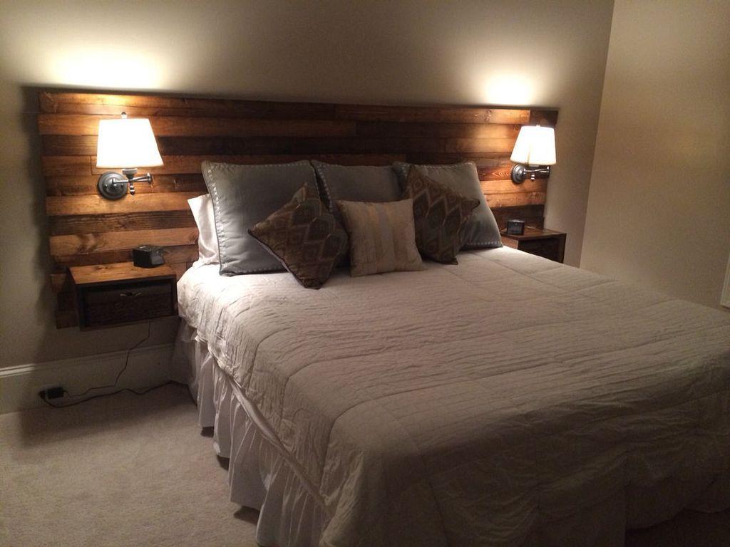 Best 30 New Look Your Bedroom With Diy Rustic Wood Headboard 640 x 480