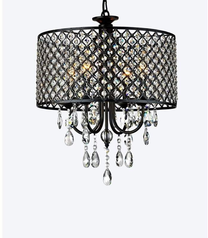 Photo of Mckamey 4 – Light Candle Style Drum Chandelier with Crystal …