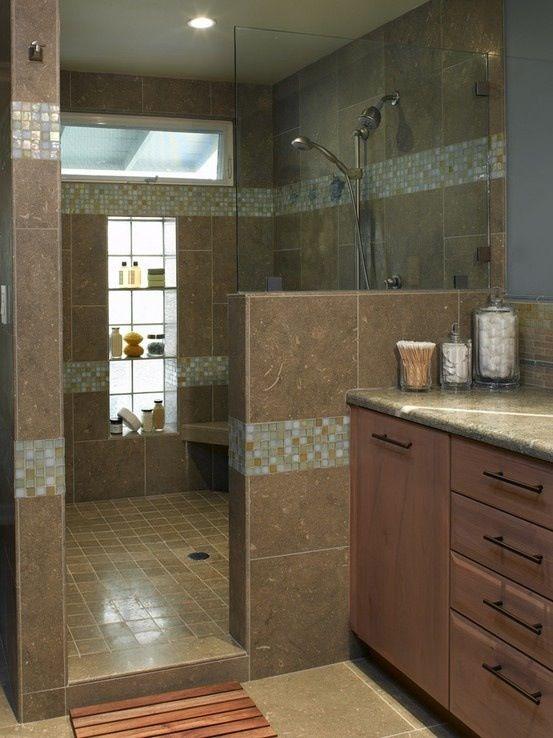 outstanding master bathroom shower | Nice, the Window niche is outstanding. Very nice look ...