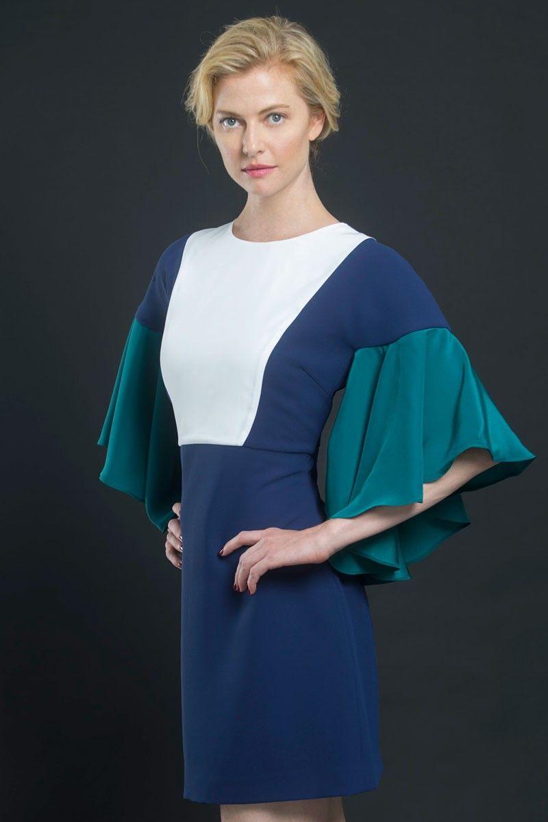 eff11147a Vestido Blanco Azul y Verde Turmalina