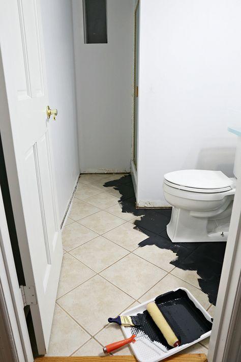 Diy Painted Stencil Bathroom Floor The Home Depot Blog Painting Tile Floors Painted Bathroom Floors Painting Bathroom Tiles