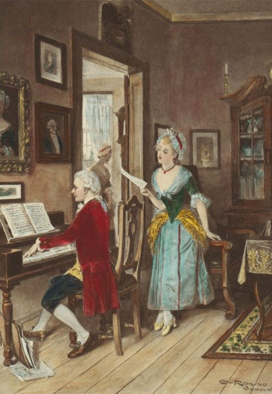 Carl Röchling (German, 1855-1920) Mozart playing Piano for Young Songstress (Mozart and Aloysia Weber). (With images) | Classical music composers, Clarinet music, Learn piano