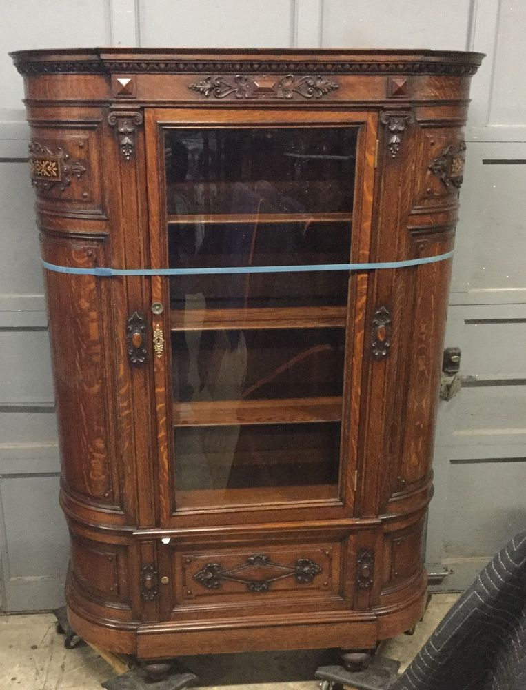 Carved oak beveled glass china cabinet   China cabinets, Antique ...
