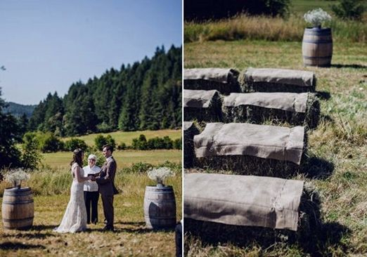 Hay Bale Ceremony Seating With Hessian Covers
