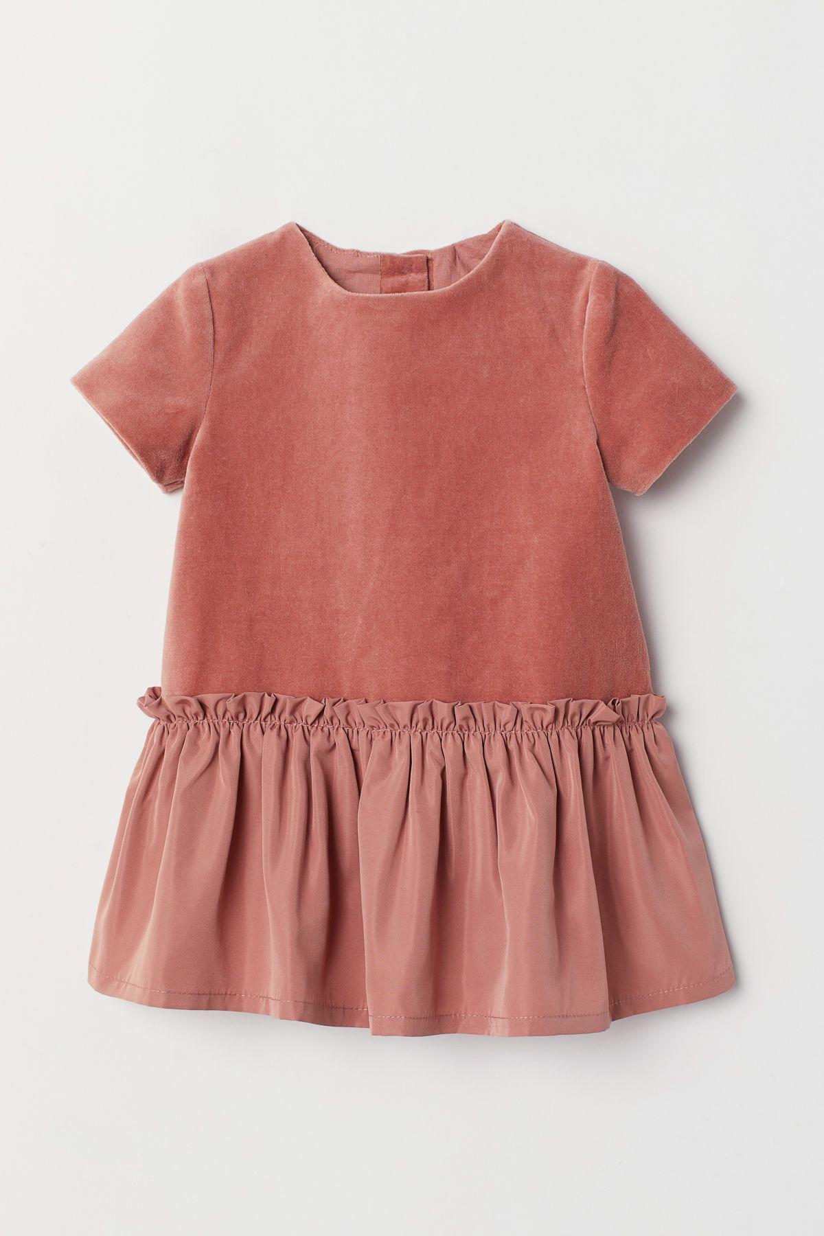 Samtkleid Dunkles Altrosa Kids H M De In 2020 Kleidung Samtkleid Kleinkind Madchen Outfit