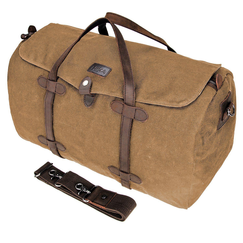HIKA Waxed Canvas Leather Trim Weekend Bag Men Women Gym Duffel bag Travel Handbag * See this great product.