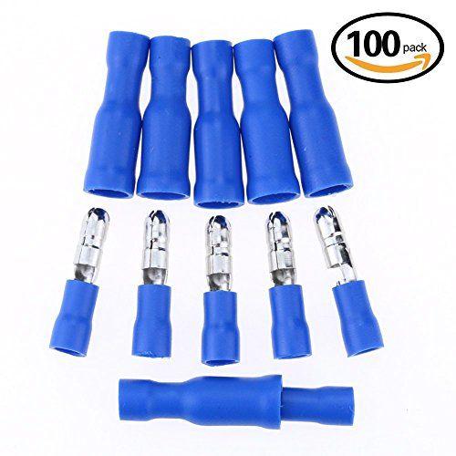 Hilitchi 100pcs 16 14 Gauge Insulated Male Female Bullet Quick Splice Wire Terminals Wire Crimp Connectors Set Connectors Insulated Crimps