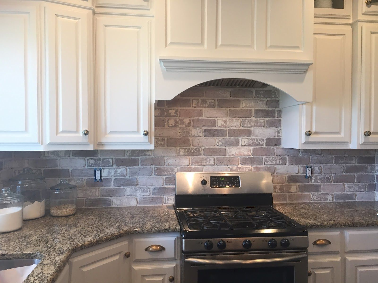 love brick backsplash in the kitchen. easy diy install with our