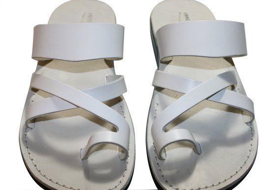 64c4eb691 White Bath Leather Sandals For Men   Women - Handmade Sandals ...