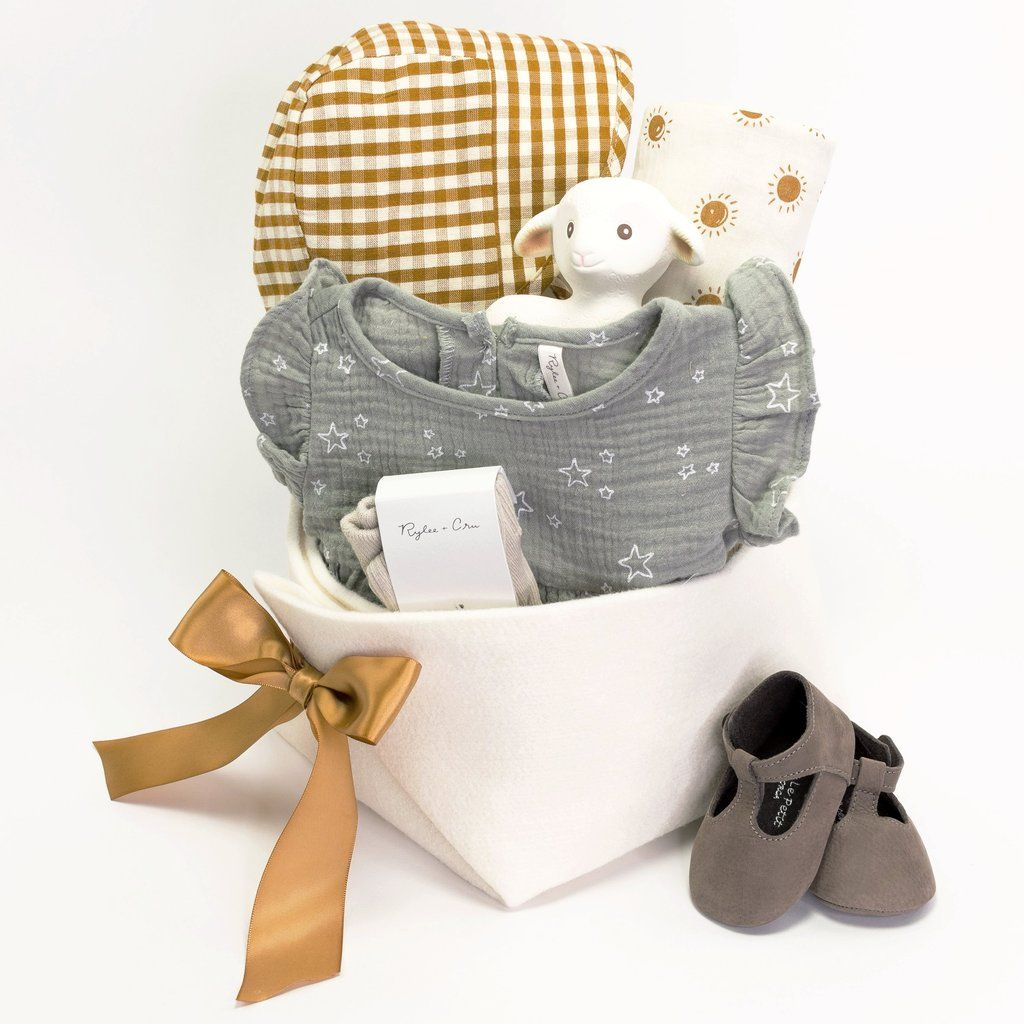 d09a9c552f621 Unique Baby Girl Gift Basket - Starlight – Bonjour Baby Baskets - Luxury Baby  Gifts