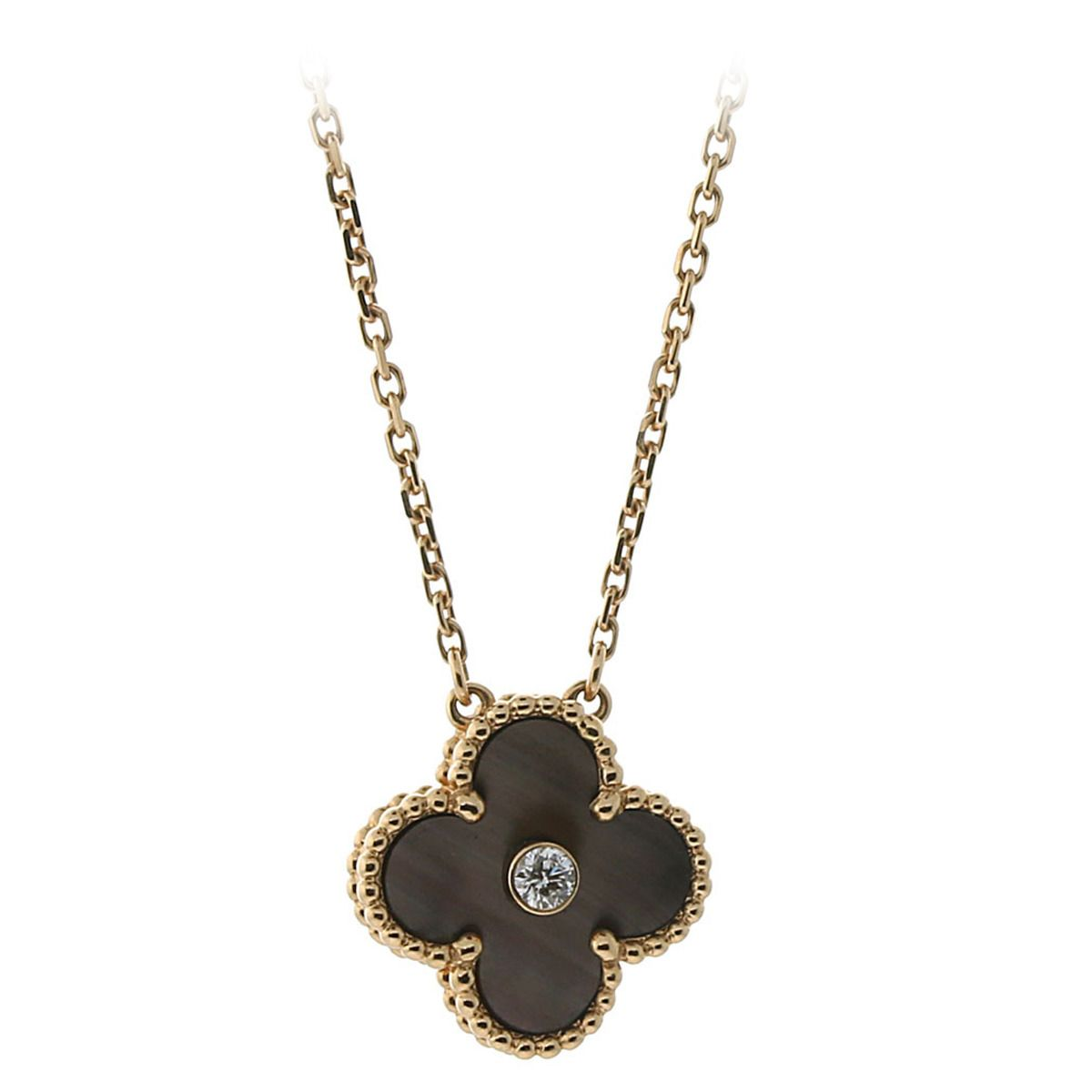 Van Cleef & Arpels Black Mother Of Pearl Diamond Gold Alhambra Necklace  Rose Gold Necklacesvintage Necklacesjewelry