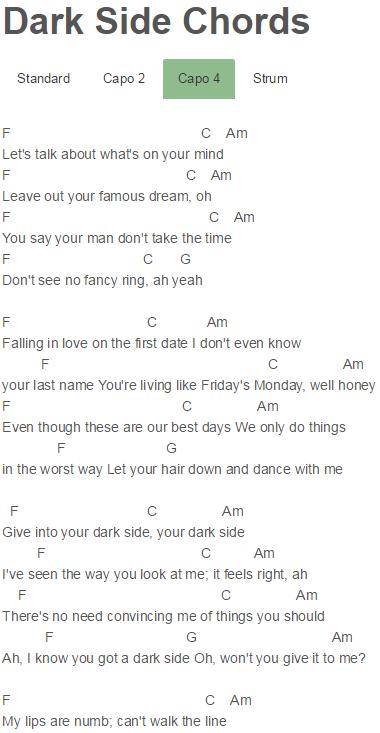 Dark Side Chords R5 | Sheet Music | Pinterest | Dark side, Dark and ...