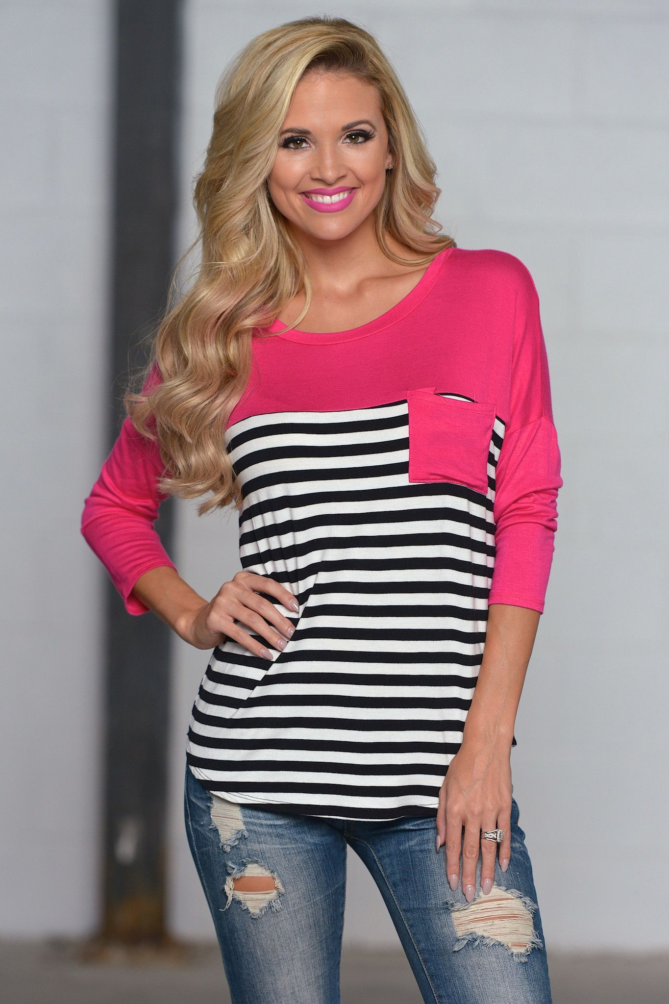 Picnic in the Park Striped Top - Pink from Closet Candy ...