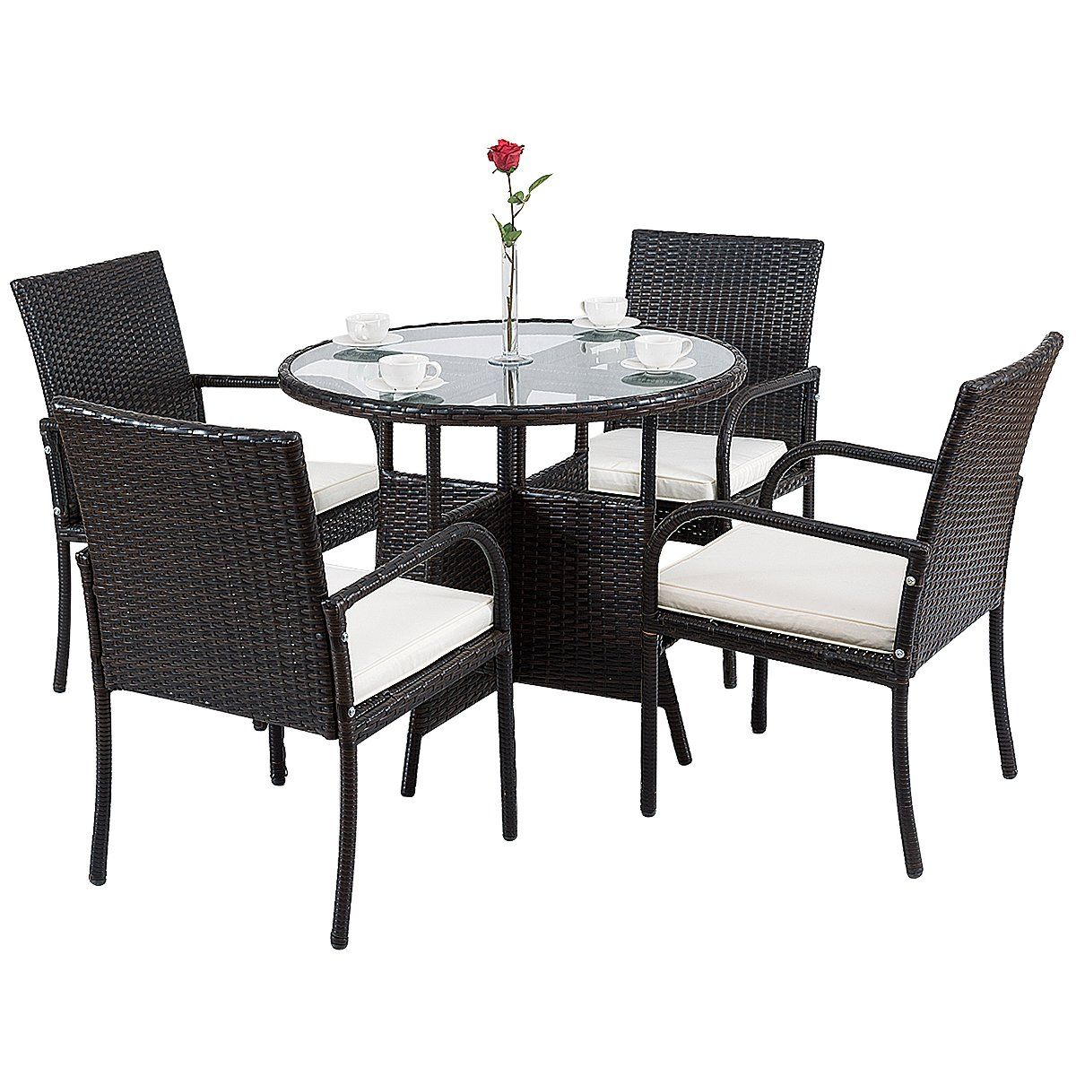 Tangkula 5 Pcs Patio Dining Set Outdoor Wicker Rattan Table And