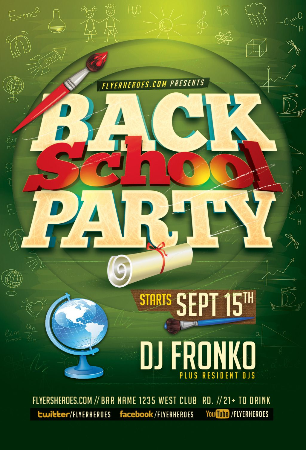 Back To School Party Leaflet Templates Download For Free On Heypik Com Heypik Backtoschool Stationery Blackboard September University College School