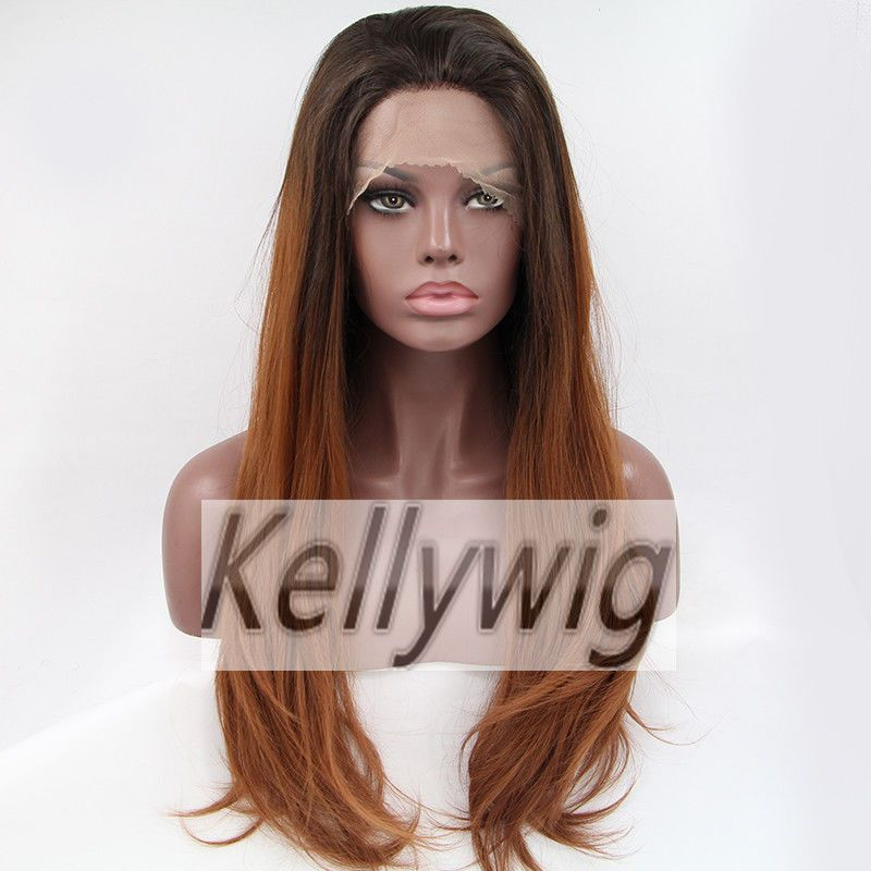 Free Ship Glueless Lace Front Wig Ombre Color 1B/30 Brown