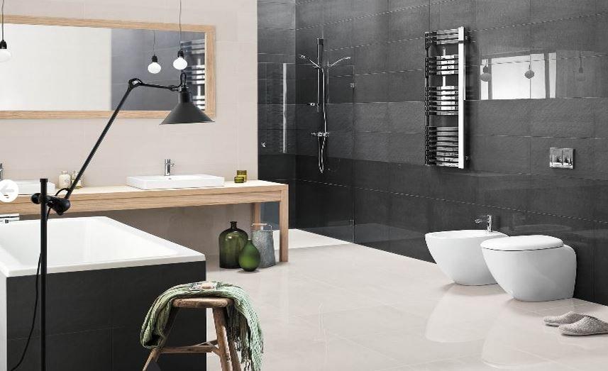 Afbeeldingsresultaat voor moderne badkamer wit zwart badkamer