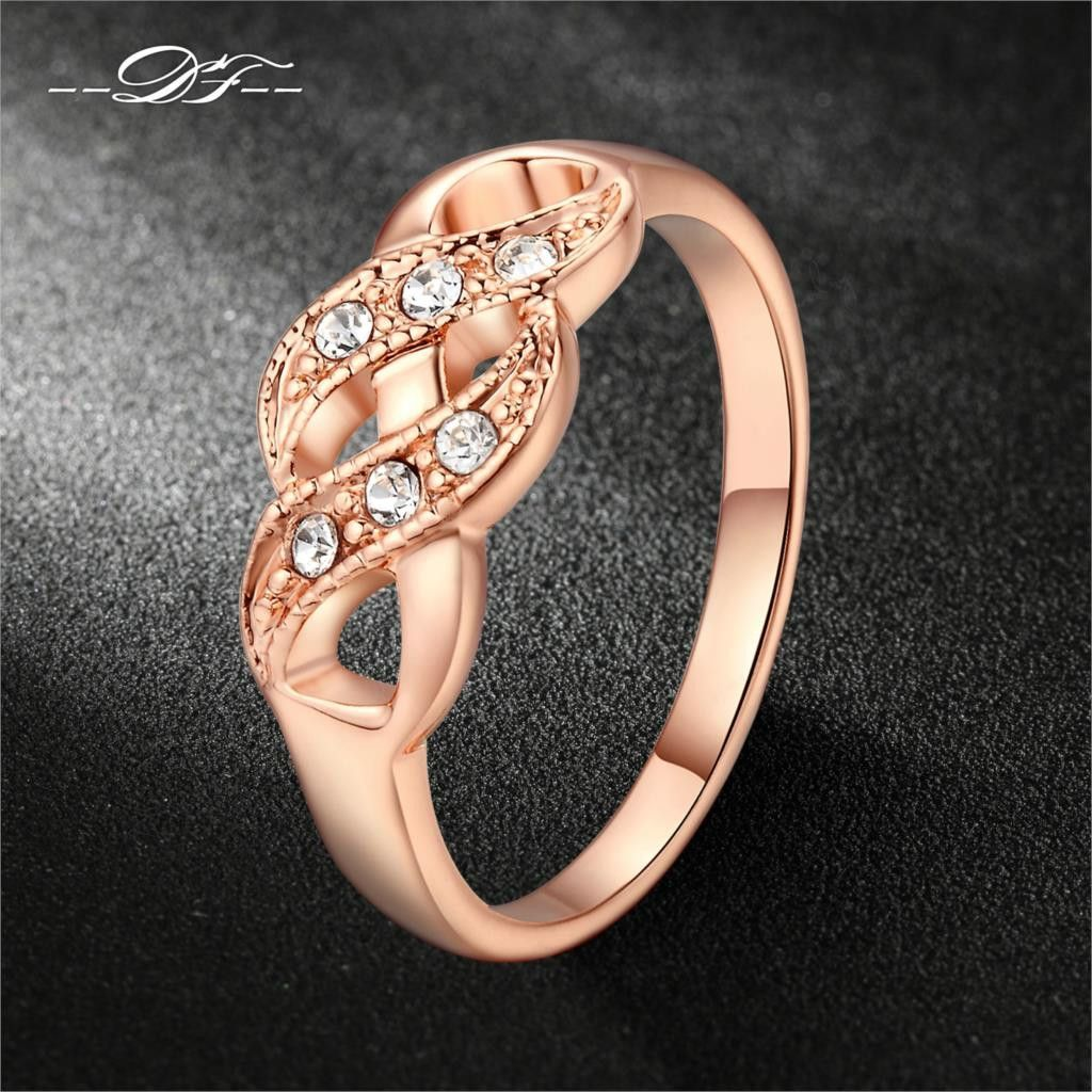 Double fair cz diamond infinity rings rose gold plated fashion
