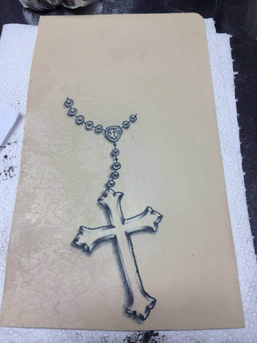 Crucifix Cross rosary tattoo