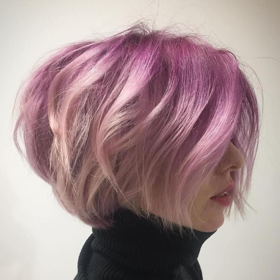 best short bob haircuts and hairstyles for women pastel pink