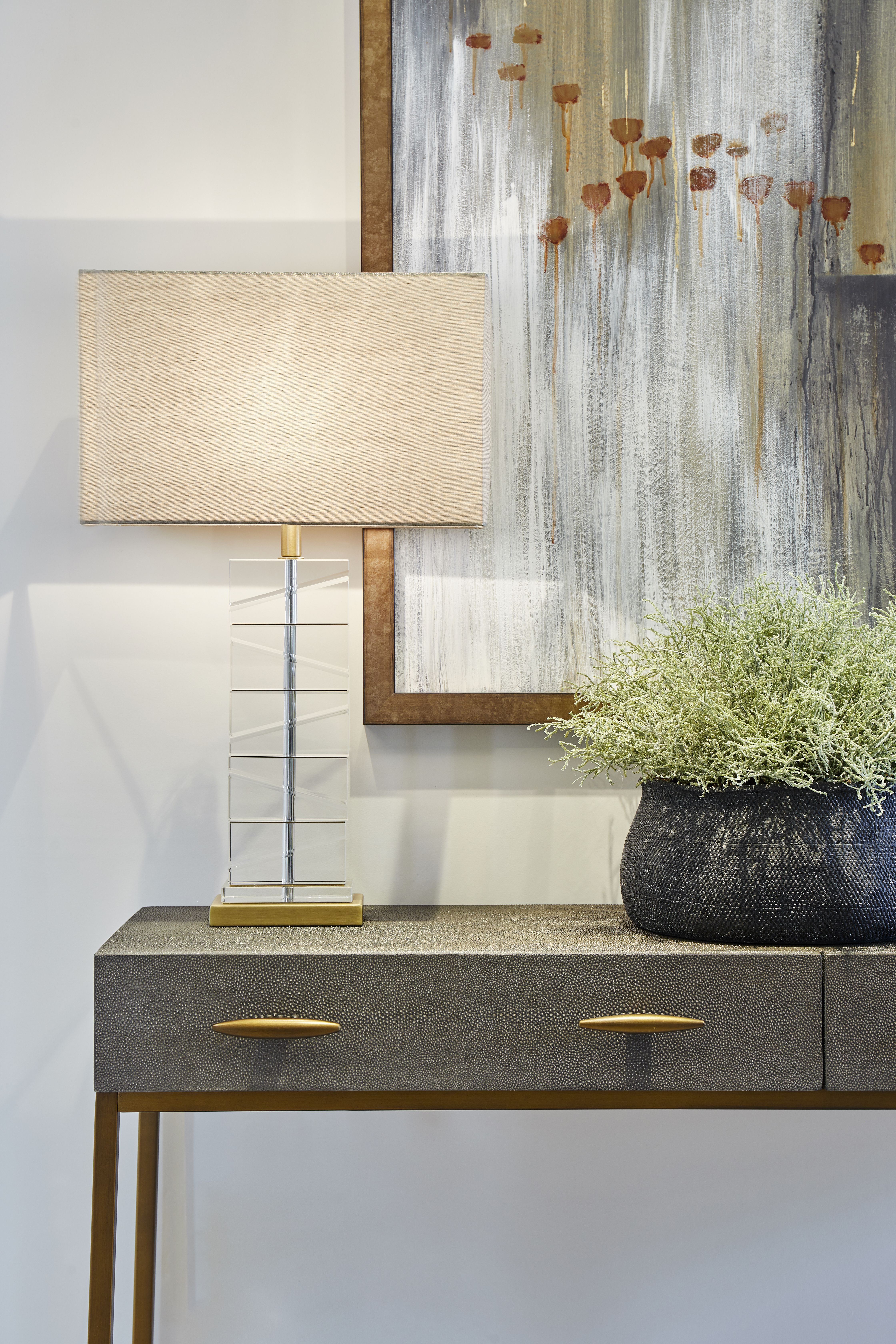 Console table in grey faux shagreen, antique brass finish