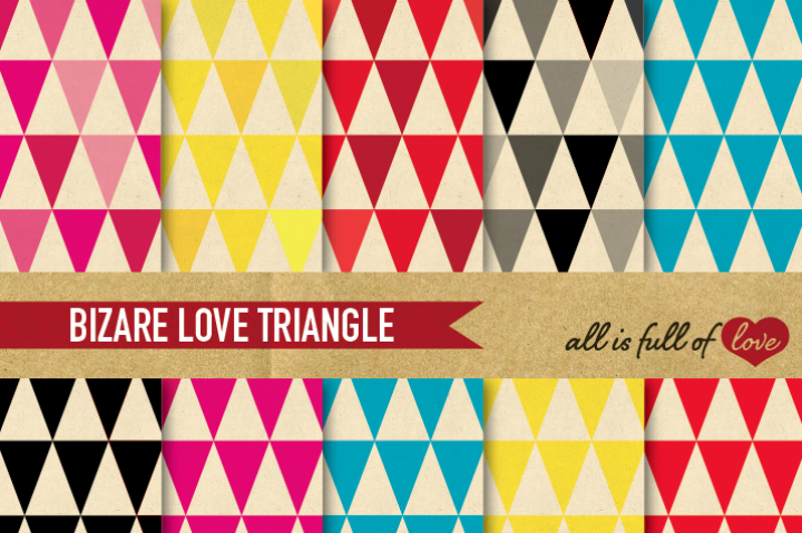Multicolored Triangle Digital Background Sheets :: Patterns with old paper background. You get 10 High Quality Sheets :: JPG files in Letter and A4 size with 300 dpi jpg, for perfect printing or digital use. These have so many uses, they are great for scrapbooking, crafts, party decor, DIY projects, blogs, stationery & more. All patterns are original and copyrighted by All is Full of love&l&l