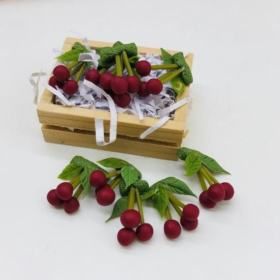 5 Bouquets Miniature Cherry with wooden box for Dollhouse Accessories scale 1/12 #dollhouseaccessories
