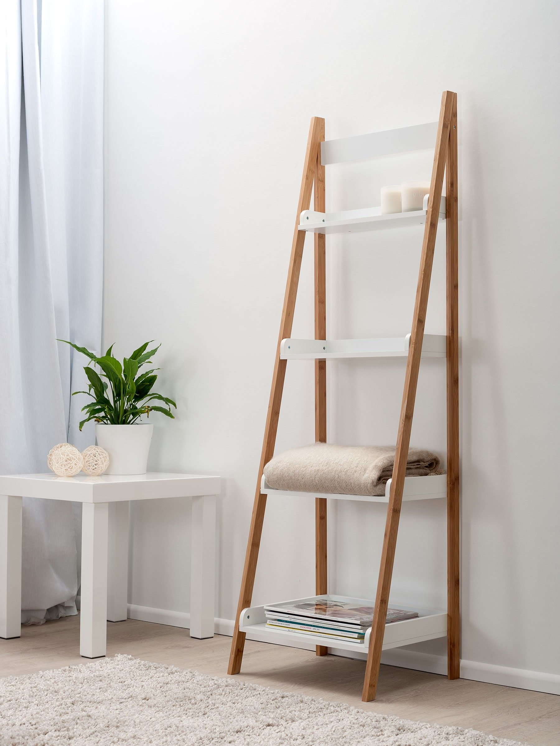 Bookshelf Captivating Ladder White Bookcase Brown With Woods Leaning Shelf Towel Table Ih Pot Plant Awesome