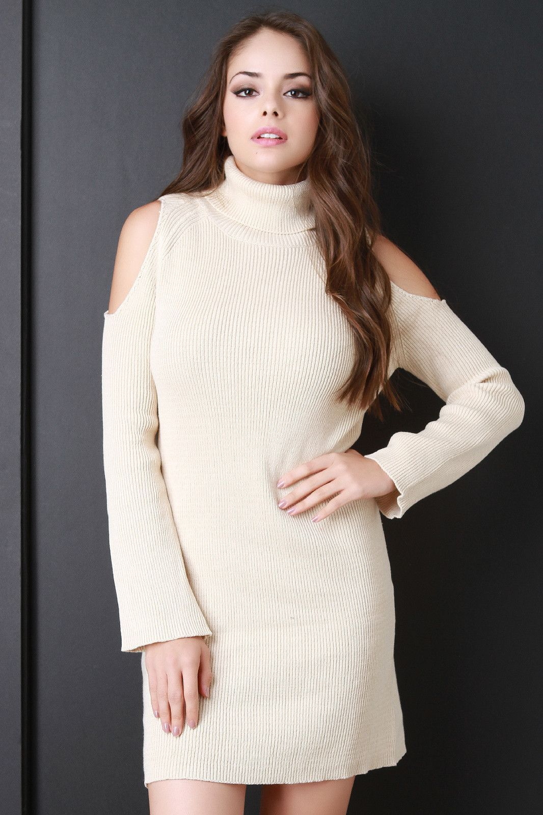 d17a989a7b4 Rib Knit Cold Shoulder Turtle Neck Sweater Dress