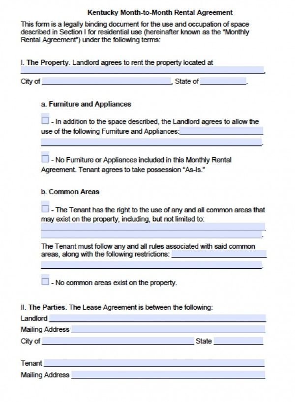 Printable Sample Monthly Rental Agreement Form Real Estate Forms - rental agreement form