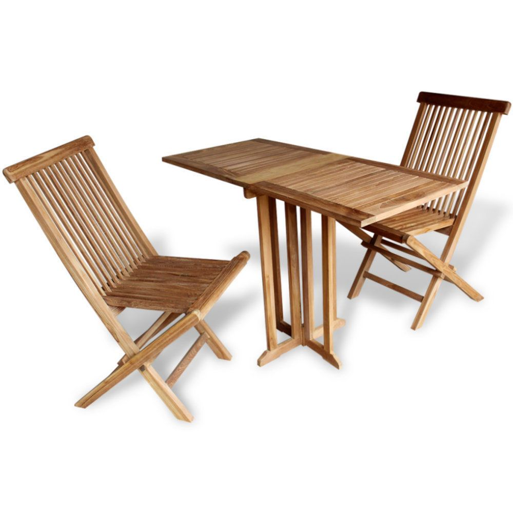 Outdoor Teak Wood Bistro Balcony Set Wooden Garden Patio Table And 2 Chairs