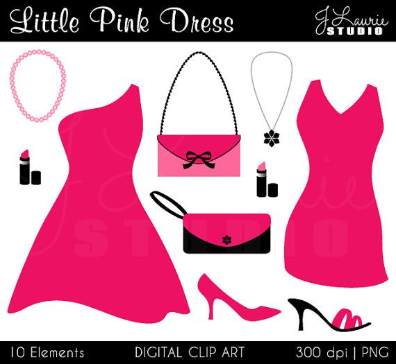 Little Pink Dress Digital Clipart-Cocktail Party-Fashion-Shoes ...
