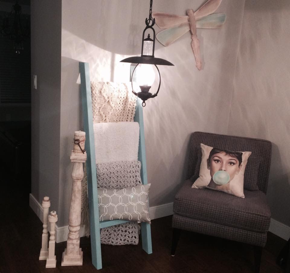 Blanket ladder with throw pillow shelf spindle candle holders