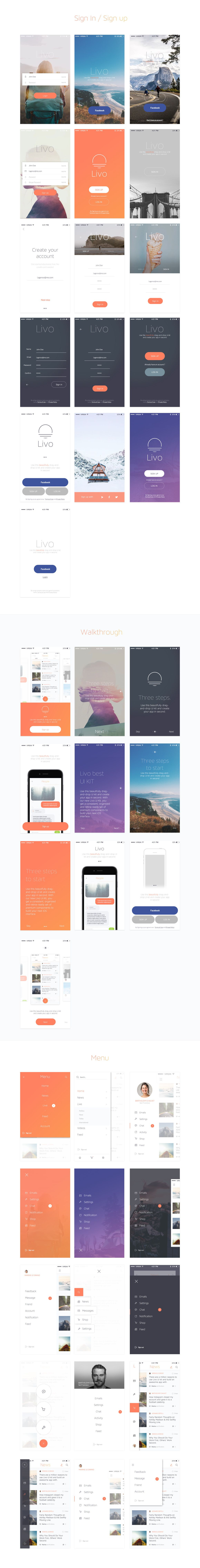 Livo UI Kit - Sketch Templates | ThemeForest (splash, login, how it ...